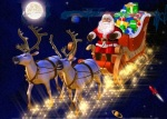 Santa claus in his sledge, with a lot of presents, in the space.