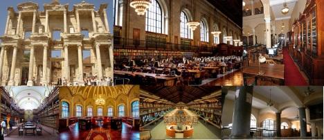 Celsius Kütüphanesi; Beyazıd Devlet Kütüphanesi; İzmir Milli Kütüphane; Ankara Milli Kütüphane;  Ahmet Hamdi Tanrıpınar Kütüphanesi; Kadir Has Kütüphanesi; İlk Devlet Kütüphanesi;