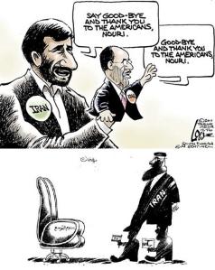 """1) Mahmud Ahmedinejad : Allahaısmarladık de ve Amerikalılara teşekkür et Nuri... Nouri al Maliki (papağan) : Allahaısmarladık ve Amerikalılara teşekkür, Nuri. Kaynak/Source: http://www.usnews.com/cartoons/iran-political-cartoons 2) Suriye ve Esad rejimini destekleyen Lübnan Hizbullah'ı üzerinden """"Bölgesel Güç koltuğu""""na doğru  adım adım... Kaynak/Source: Syrian Change."""